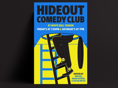 Hideout Comedy Club Poster illustrator comedy poster brand identity typography poster vector brand identity design branding illustration design
