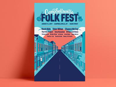 Final Folk Fest Poster hand lettering lettering brand identity vector typography poster brand identity design branding illustration design