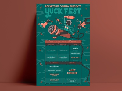 Yuck Fest Final Poster indiana indianapolis comedy poster hand lettering lettering brand identity poster brand identity design branding illustration design