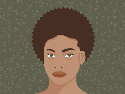 Curly girl blackgirl character wave naked illustrator green illustration curly black girl portrait