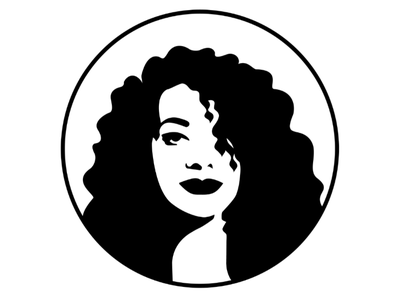 Self portrait curly-hair user avatar minimal vector bw face portrait self-portrait logo