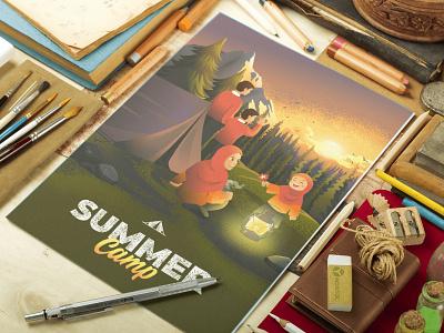 Camp Illustration poster summer party flyer summer party summer flyer summer camp camp adobe illustrator illustration
