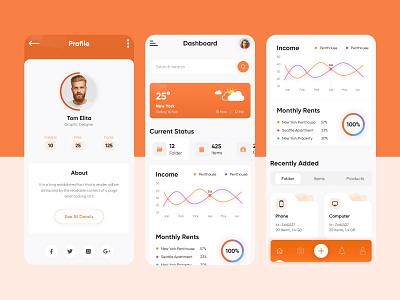 Profile & Statistics App Design folder chart graph weather info statistics dashboard app profile app design branding design ui uiux design graphic design