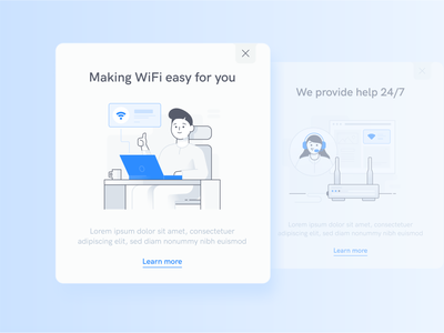 Wifi Illustrations engagement button card design router callcenter internet connection card wifi ux illustration icon ui