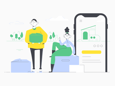 Easy moving services home screen moving company animation engagement onboarding ui hero illustration app ui illustraion real estate