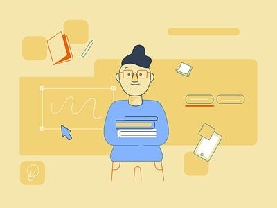 Student typography vector branding startup tech pastel color college internship student icon illustration app ui