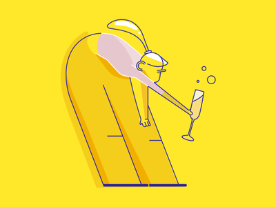 Cheers new year woman illustration icon party glass anniversary cheers illustrator ui