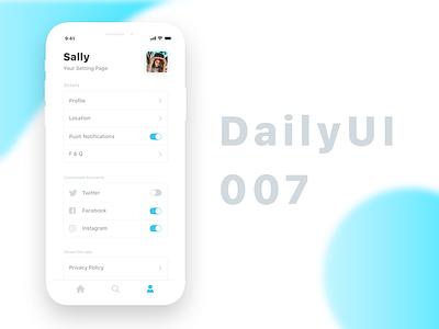 Daily UI 007 - Setting setting 007 dailyui
