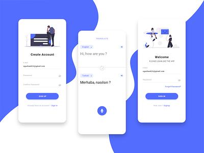 Translator App uidesign design ui mobile react native app translator translate