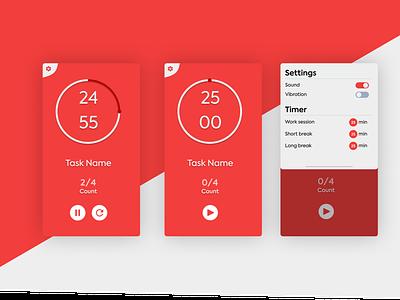 Pomodoro Timer App - Light Mode timers timer mobile app pomodoro