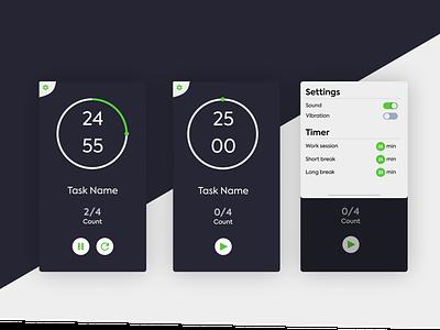 Pomodoro App - Dark Mode timers timer ui mobile app pomodoro