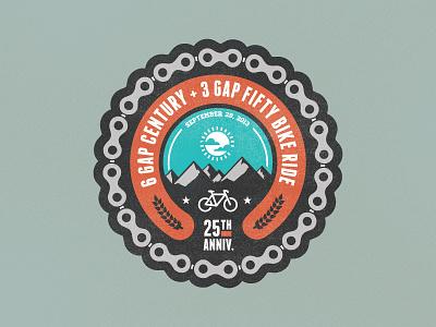 Cycle North Georgia Badge version 1 badge logo bike bike ride chains bicycle georgia mudshock texture