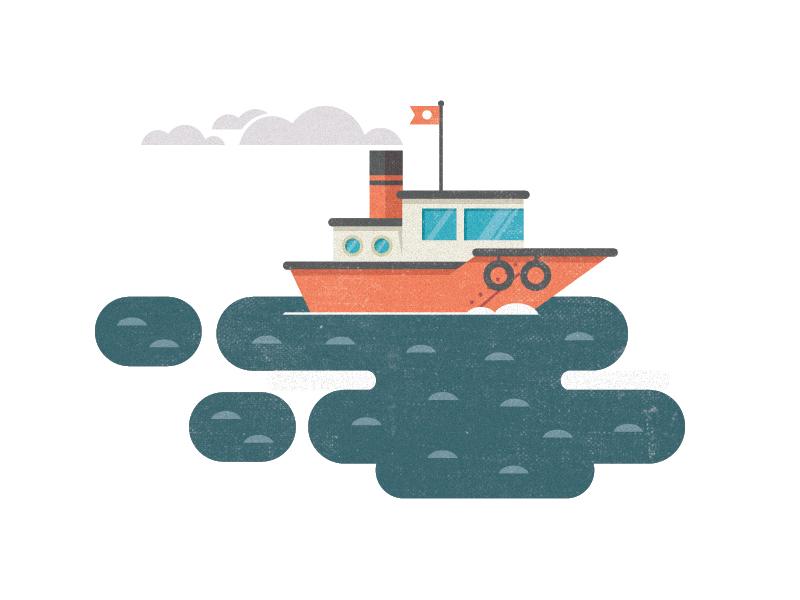 404 Tugboat Illustration tugboat 404 page illustration work in progress boat sea ocean orlando flat texture