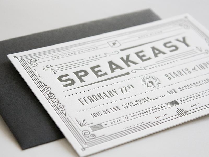 Speakeasy Invitation design invite invitation secret speakeasy letterpress print vintage addys after party