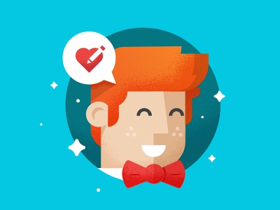 Giddy Designer fun happy pencil bow tie guy illustration illy heart man
