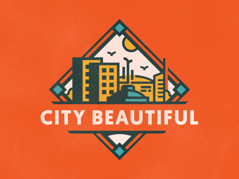 City Beautiful florida mudshock illustration design logo badge downtown lake eola beautiful city orlando