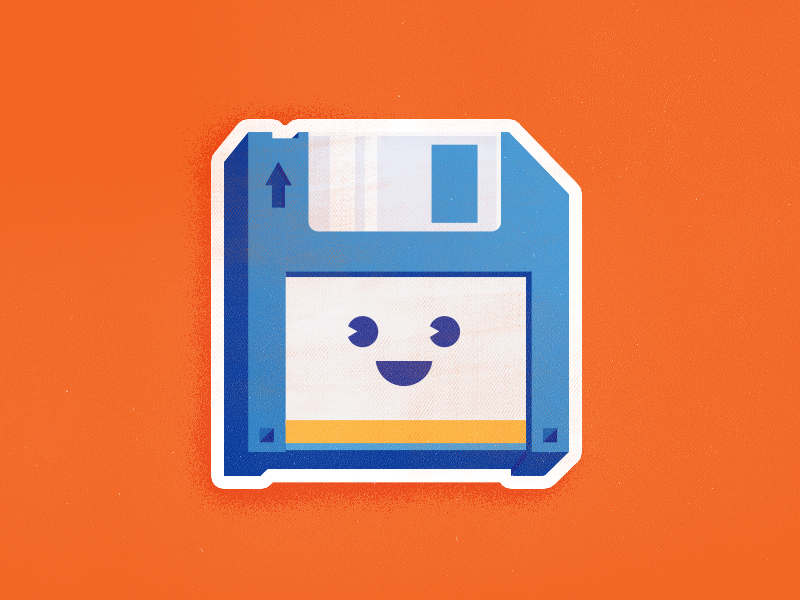 Remember him? illustration design cute happy disk save slap! stickers icon remember work sticker save disk