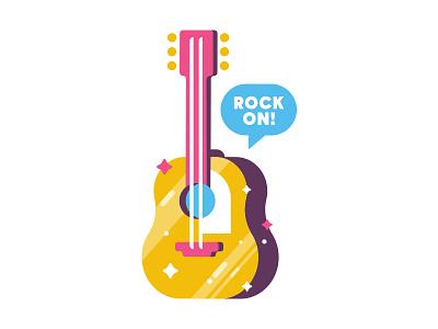 Rock on! austin mudshock design sticker acoustic guitar illustration slap! stickers rock on summer