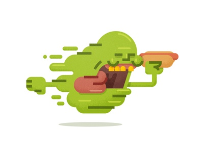 Slimer austin mudshock ecto 1 slime flying hot dog ghost textures design illustration ghostbusters slimer