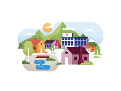 Lil' Town scene illustration mudshock austin sunny day sun mountains village hospital house town
