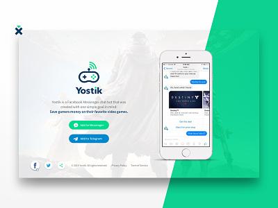 Yostik landing page video games signal messenger controller branding brand site ui landing page website bot yostik