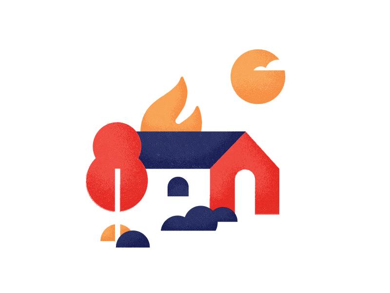 🏠🔥 design texture illustration tree fire sun tx feels summer burning burn house