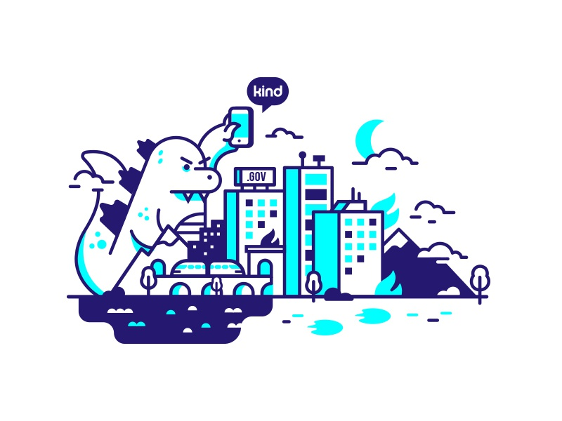 🔥 Gojira! 🏢 mudshock design illustration hero hero image city godzilla gojira insurance health kind