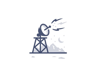 Hello, anyone around? mudshock austin spot illustration iconography design exploration icon satellite
