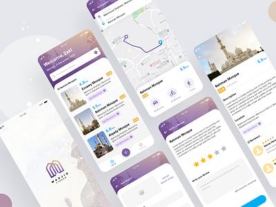Masjid Finder App navigate map ux ui theme app islamic finder mashid