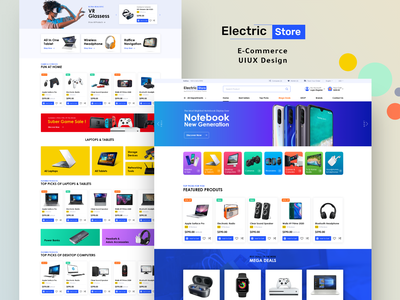 Electric Store Landing Page electronics electric ecommerce online market shopping shop landing page website interaction ui