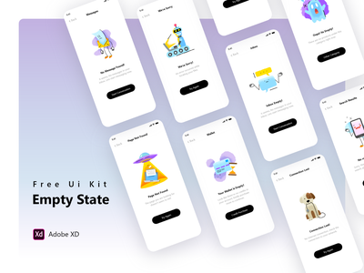 Empty State Collection - Free Xd File wrong mobile app ux ui xd adobexd adobe collection empty state state error empty freebie free