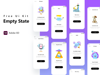 Empty State Collection - Free Xd File freebie free error page error empty state empty collection adobe xd adobe xd ui kit xd uiux ux ui app mobile wrong