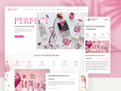 Blugarian Rose Website Design cosmetic packaging bulgarian bulgaria flower rose e commerce ecommerce shopping shop online cosmetics landing page website design interface interaction ux ui