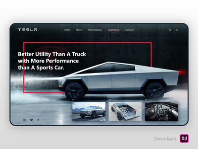 Tesla Cyber Truck | Landing Page truck cyber tesla landing page landing website webdesign interface interaction design ux ui