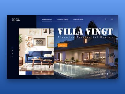Villa Vingt landing cover header website concept websites web design landing page branding website web interface interaction design ux ui