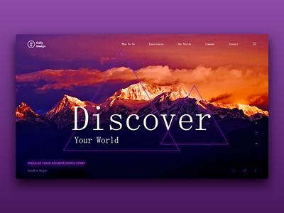 Discover your world web design cover landingpage landing header website interaction interface design ux ui