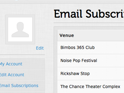 My Account : Email Subscriptions