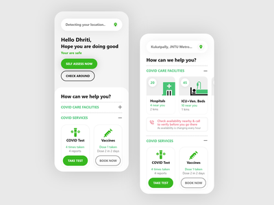 Covid Care App UI uidesigner covidcare uiux appui appdesign mobileui digitaldesign userinterface userexperience visualdesign uxdesigner uidesign uxdesign