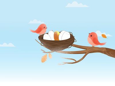 Golden Eggs graphicdesign clean design banner illustrator graphic design illustraion art procreate illustration