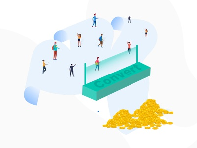 Converter clean design banner vector branding 2d animation graphic design illustraion procreate illustrator