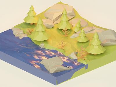 Forest art graphic design illustrator blender