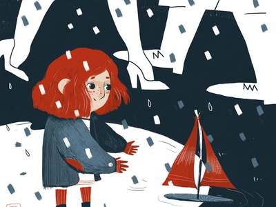 ship characterdesign illustration children book wacom sketch inspiration kid girl rain raedhair redhead ship