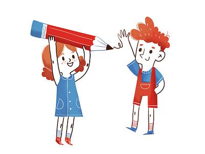 redhead kids sketch kids play enjoy artist pencil gane redhair redhead girl boy