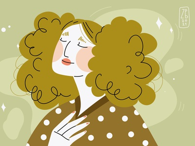 curly illustration fashion women curly hair