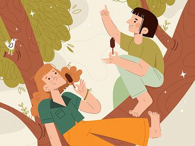 girls characterdesign redhead inspiration illustration friendship friends forest ice cream tree girls