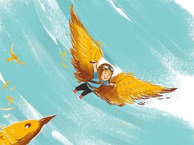 illustration for children book (fragment) fly dreams illustration bookillustration book child kid birds sky