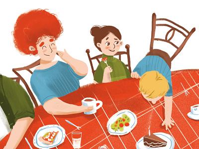illustration for children book table dinner illustration children book illustration