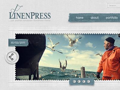 LinenPress - WordPress Theme slider web design html5 css3 interface web menu navigation header website layout design textile linen photoshop logo wordpress