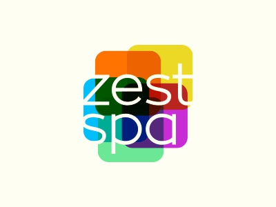 Zest Spa typographic transparent colorful spa