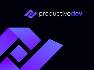 ProductiveDev negative space gradient software logo pd logo pd